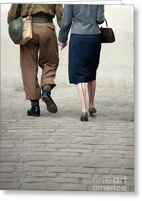 1940s Couple Soldier And Civilian Holding Hands Greeting Card