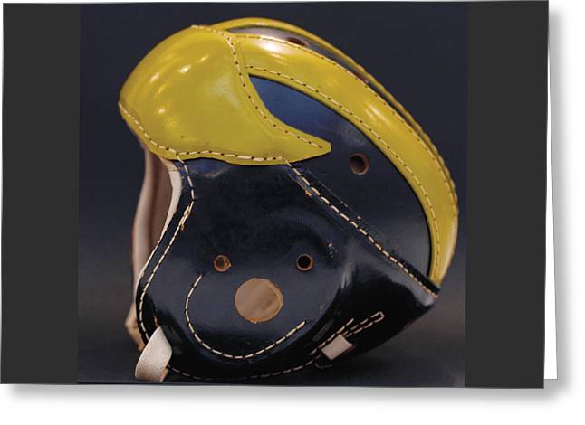 Greeting Card featuring the photograph 1940s Leather Wolverine Helmet by Michigan Helmet