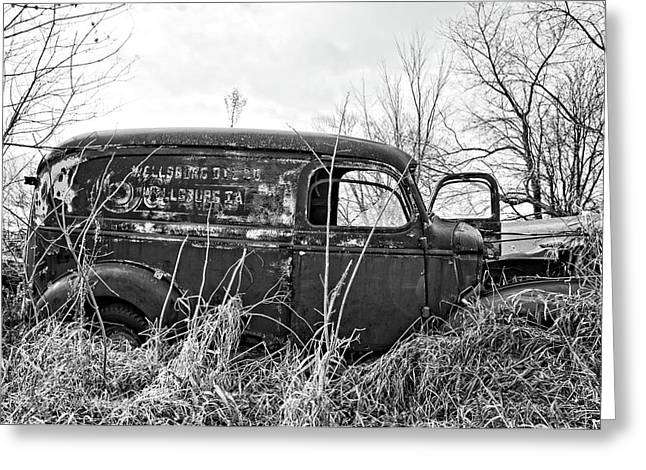1940s Panel Truck Bnw Greeting Card by Bonfire Photography