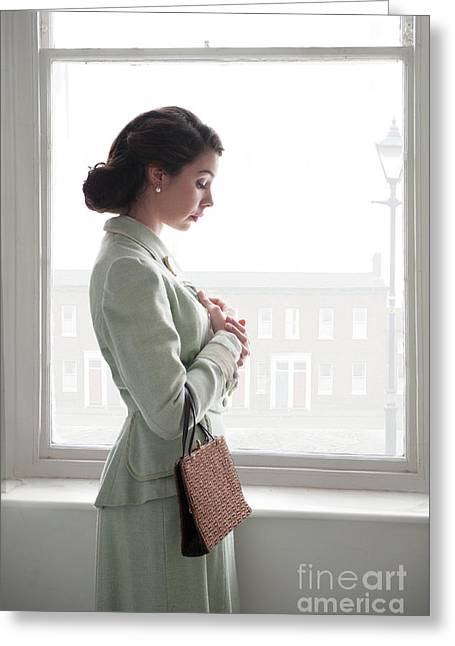 Greeting Card featuring the photograph 1940s Woman At The Window by Lee Avison