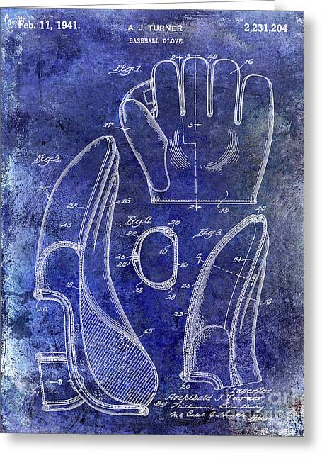 1941 Baseball Glove Patent Blue Greeting Card by Jon Neidert