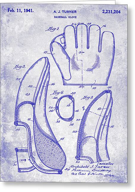 1941 Baseball Glove Patent Blueprint Greeting Card