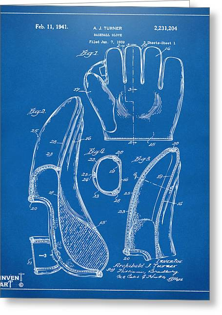 Player Drawings Greeting Cards - 1941 Baseball Glove Patent - Blueprint Greeting Card by Nikki Marie Smith