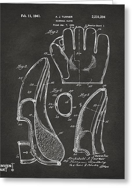 Player Drawings Greeting Cards - 1941 Baseball Glove Patent - Gray Greeting Card by Nikki Marie Smith