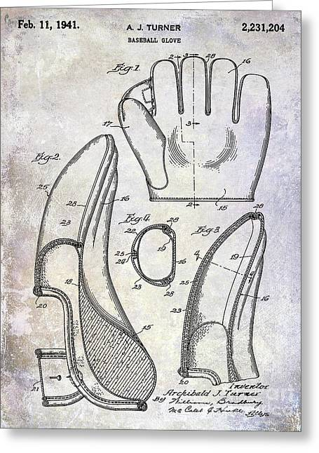 1941 Baseball Glove Patent Greeting Card by Jon Neidert