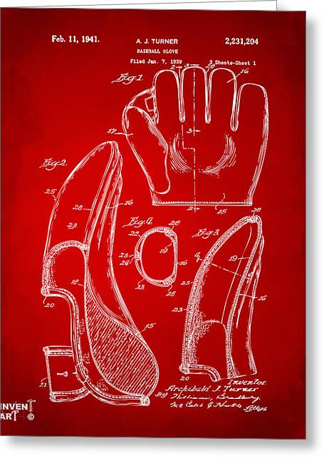 Baseball Game Greeting Cards - 1941 Baseball Glove Patent - Red Greeting Card by Nikki Marie Smith