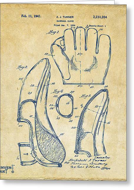 Player Drawings Greeting Cards - 1941 Baseball Glove Patent - Vintage Greeting Card by Nikki Marie Smith