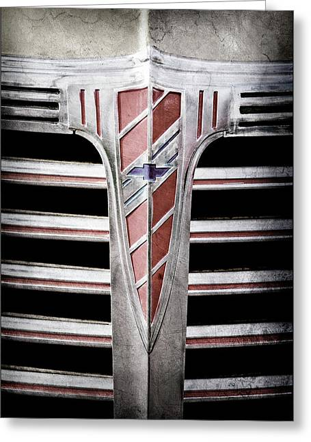 Greeting Card featuring the photograph 1941 Chevrolet Grille Emblem -0288ac by Jill Reger