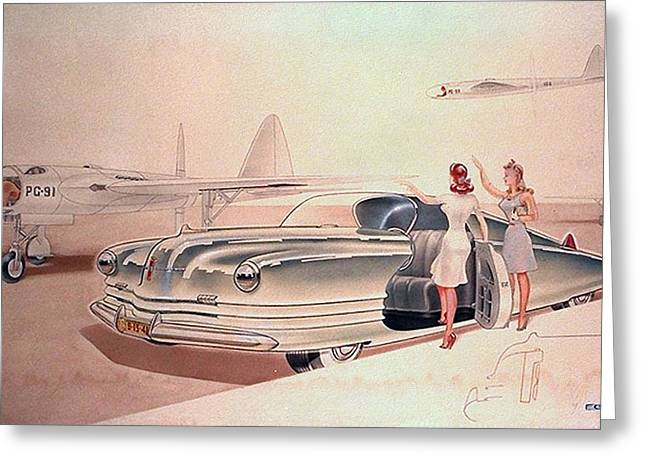 Future Dreams Greeting Cards - 1941 Chrysler concept styling rendering Gil Spear Greeting Card by ArtFindsUSA