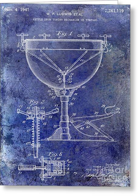 1941 Ludwig Drum Patent Blue Greeting Card by Jon Neidert