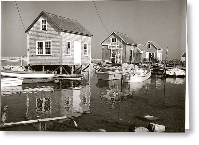 Greeting Card featuring the photograph 1941 Lobster Shacks, Martha's Vineyard by Historic Image
