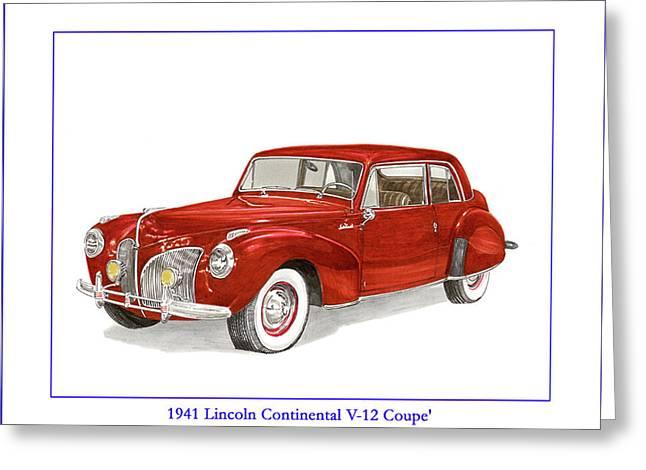 1941 Mk I Lincoln Continental Greeting Card by Jack Pumphrey