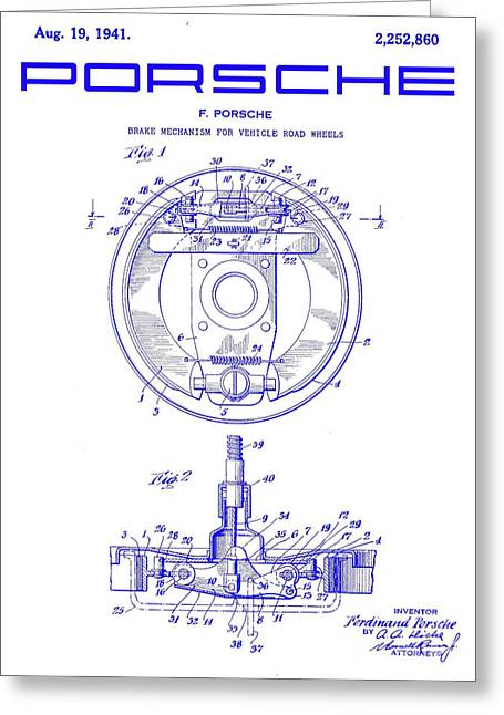 1941 Porsche Brake Mechanism Patent Blueprint Greeting Card