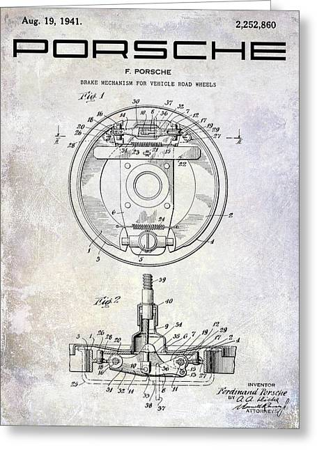 1941 Porsche Brake Mechanism Patent Greeting Card