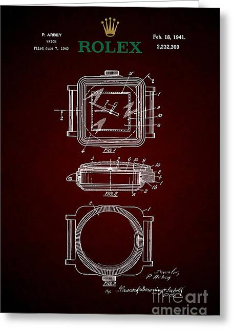 1941 Rolex Watch Patent 4 Greeting Card by Nishanth Gopinathan