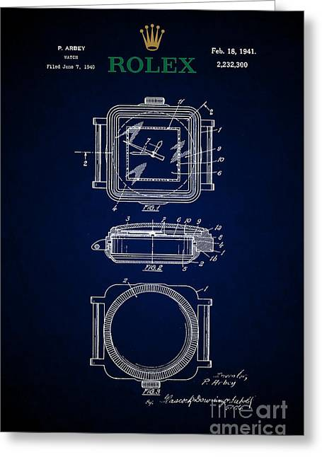 1941 Rolex Watch Patent 5 Greeting Card by Nishanth Gopinathan