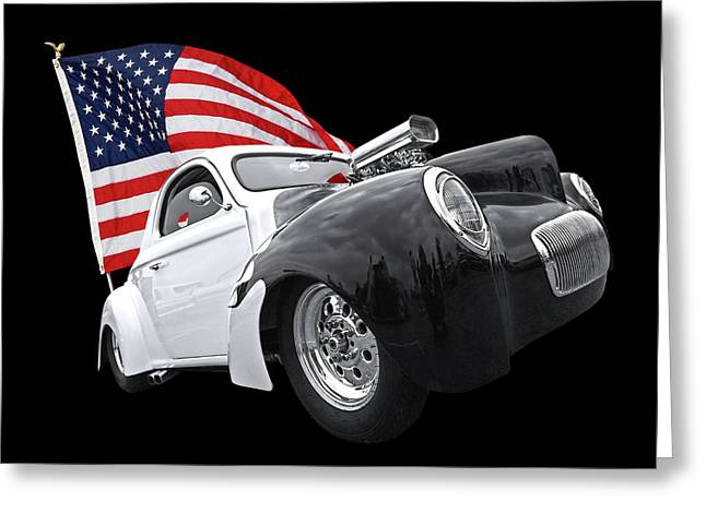 1941 Willys Coupe With Us Flag Greeting Card