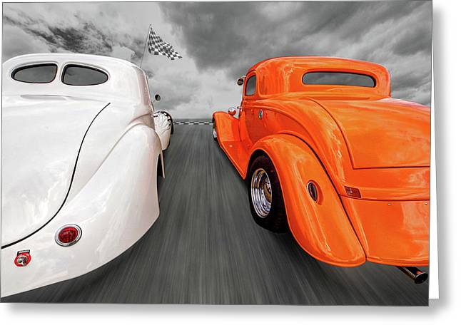 1941 Willys Vs 1934 Ford Coupe Greeting Card