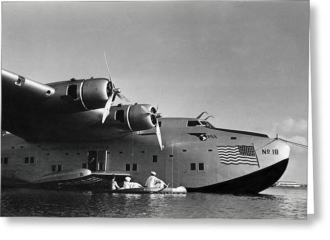 1942 China Clipper Vists Hawaii Greeting Card by Historic Image