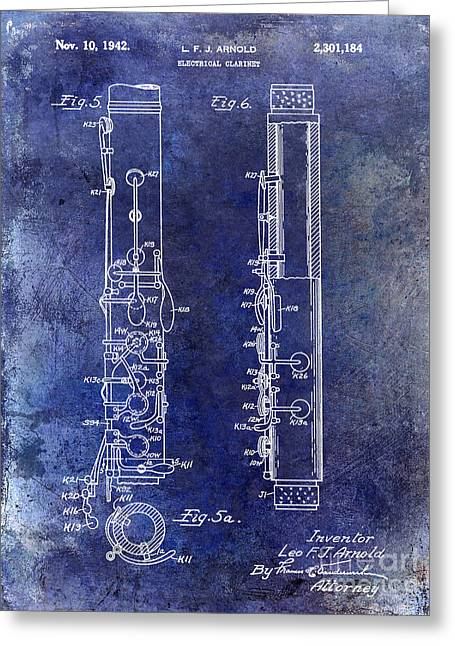 1942 Electric Clarinet Patent Blue Greeting Card by Jon Neidert