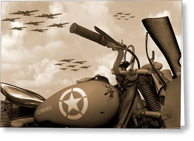 Greeting Card featuring the photograph 1942 Indian 841 - B-17 Flying Fortress - H by Mike McGlothlen