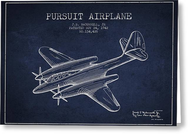 1942 Pursuit Airplane Patent - Navy Blue 03 Greeting Card by Aged Pixel