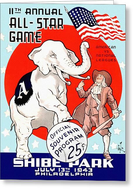 1943 Baseball All Star Game Program Greeting Card