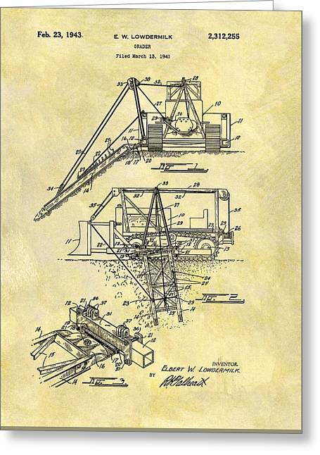 1943 Grader Patent Greeting Card by Dan Sproul