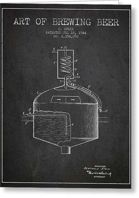 1944 Art Of Brewing Beer Patent - Charcoal Greeting Card by Aged Pixel