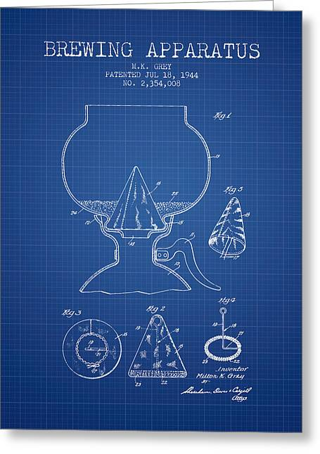 1944 Brewing Apparatus Patent - Blueprint Greeting Card by Aged Pixel