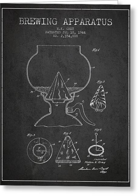 1944 Brewing Apparatus Patent - Charcoal Greeting Card by Aged Pixel
