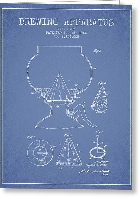1944 Brewing Apparatus Patent - Light Blue Greeting Card by Aged Pixel