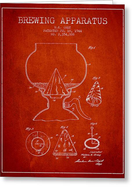 1944 Brewing Apparatus Patent - Red Greeting Card by Aged Pixel