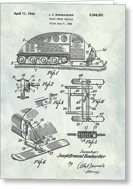 1944 Chain Tread Vehicle Patent Greeting Card by Dan Sproul