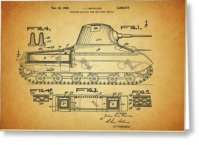 1945 Army Tank Patent Greeting Card