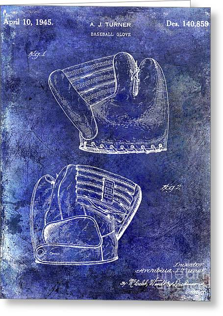 1945 Baseball Glove Patent Blue Greeting Card