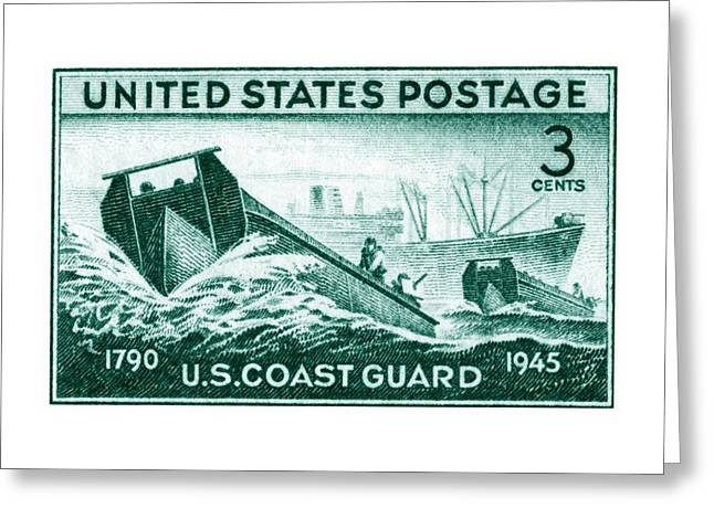 1945 Coast Guard Issue Stamp Greeting Card by Historic Image