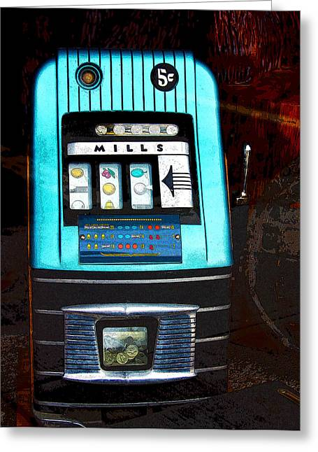 Coins Greeting Cards - 1945 Mills High Top 5 Cent Nickel Slot Machine Greeting Card by Karon Melillo DeVega