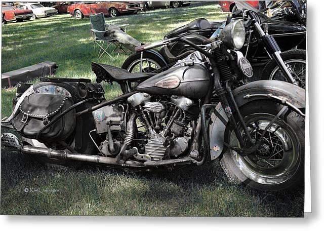 Greeting Card featuring the photograph 1946 Harley Davidson by Kae Cheatham