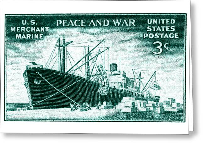 1946 Merchant Marine Stamp Greeting Card by Historic Image