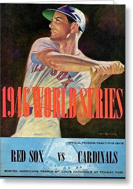 1946 World Series Program, Red Sox Vs Cardinals Greeting Card