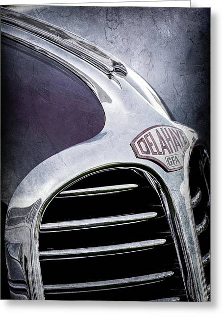 Greeting Card featuring the photograph 1947 Delahaye Emblem -1477ac by Jill Reger