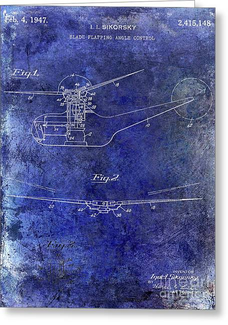 1947 Helicopter Patent Blue Greeting Card by Jon Neidert