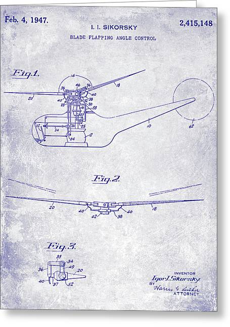 1947 Helicopter Patent Blueprint Greeting Card by Jon Neidert