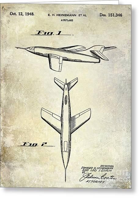 1947 Jet Airplane Patent Greeting Card by Jon Neidert