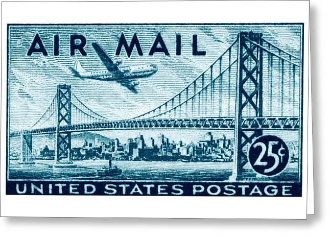 1947 San Francisco Air Mail Stamp Greeting Card by Historic Image