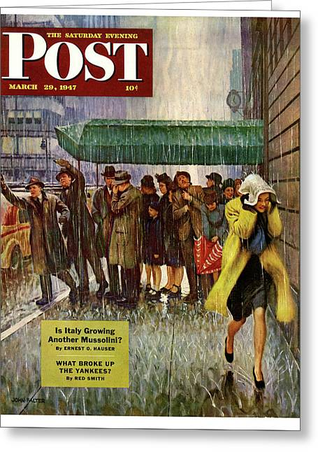 1947 Saturday Evening Post Magazine Cover Greeting Card