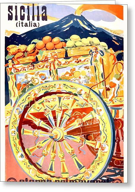 1947 Sicily Italy Travel Poster Eternal Spring Greeting Card