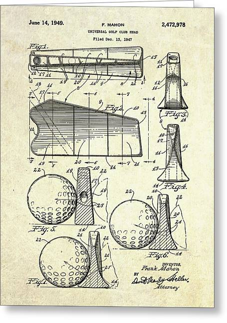 1947 Universal Golf Head Patent Art Greeting Card