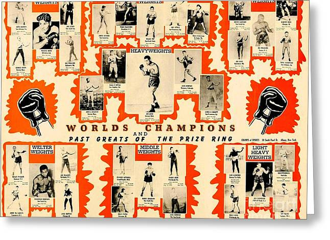 1947 World Champions And Past Greats Of The Prize Ring Greeting Card